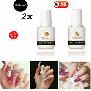 2x-Silcare-Brush-On-False-Nail-Tip-Adhesive-Glue-7-5g-Super-Strong-UK-SELLER