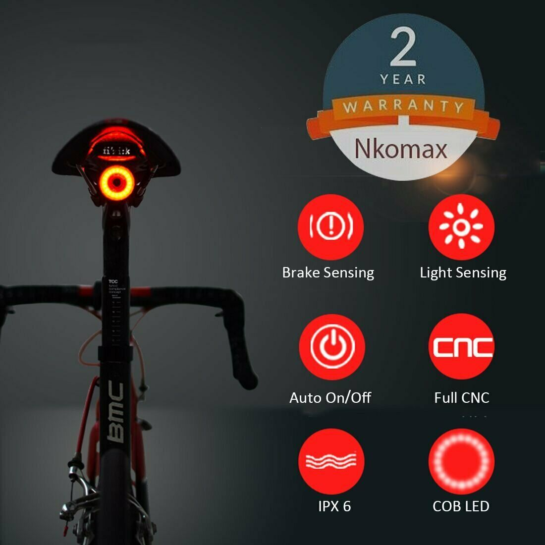 Bike Tail Light Ultra Bright Rechargeable Auto On Of Waterproof & Easy Install