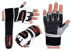 EVO-Leather-Cycling-Gloves-Weightlifting-Gym-Neoprene-Support-Wrist-Wraps-Straps