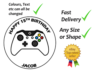 Personalised Xbox controller style cake topper edible icing or Wafer