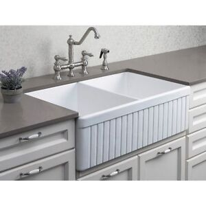Details About Alfi Ab537 W White 32in Fluted Double Bowl Fireclay Farmhouse Kitchen Sink New
