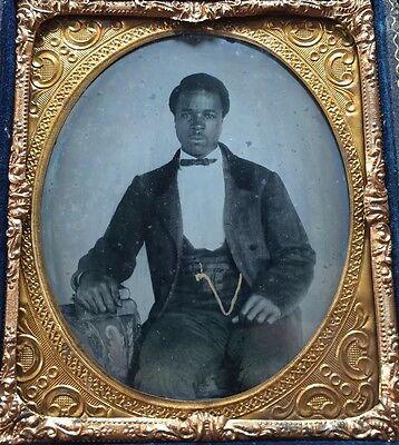 AFRICAN AMERICAN BLACK SLAVE ERA BOOKS LITERATE 1/6 CASE AMBROTYPE PHOTO #A64