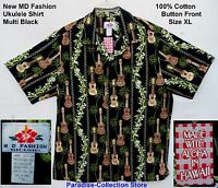 NEW MD FASHION ALOHA SHIRT KOA KAMAKA GUITARS UKULELE  ALOHA SHIRT COOL SIZE XL