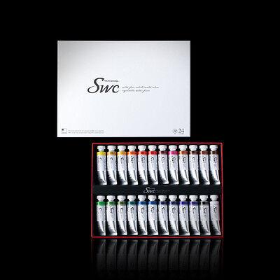 SHINHAN SWC Premium Professional Artist Grade Watercolor Paint Set 24colors 15ml