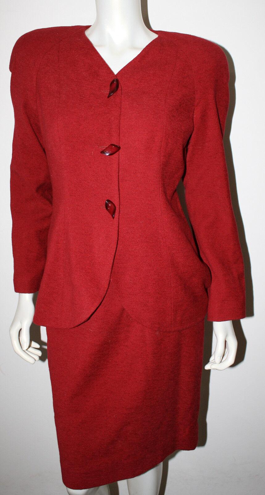 FLORINE WACHTER Red Wool Blend Vintage Skirt Suit Unique Buttons 6 LS