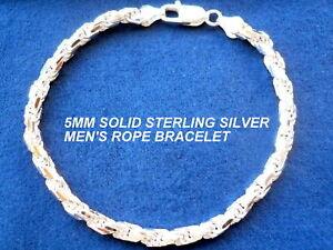 5MM 925 STERLING SILVER MEN S DIAMOND CUT ROPE BRACELET 8