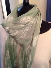Authentic McQueen Silk Skull Print Scarf. Soft Sage Green & Ivory. Good Cond