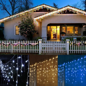 Details About Connect 5m 216led Snowing Outdoor Xmas Fairy Lights Icicle Tree House Roof Decor