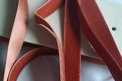 "10y bolt vtg scarlet Orange velvet Swiss 7//8/"" rayon ribbon trim Millinery dress"