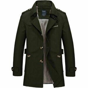 NEW-Men-039-s-Winter-Mid-long-Jacket-Stylish-Fit-Trench-Coat-Jacket-Green