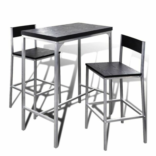 Vidaxl 241495 Ensemble Table Et 2 Tabourets De Bar Noirs Achetez Sur Ebay