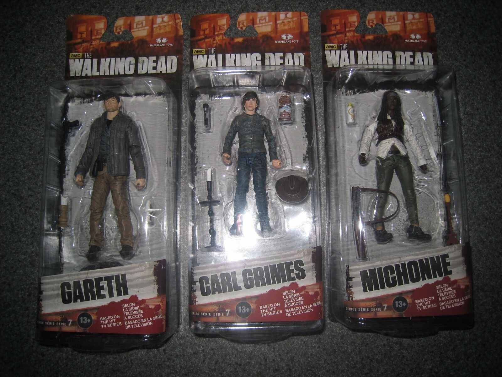 88cdc5b30af NIP AMC THE WALKING DEAD GRIMES GARETH CARL GRIMES DEAD MICHONNE SERIES 7  FIGURES 0366b9