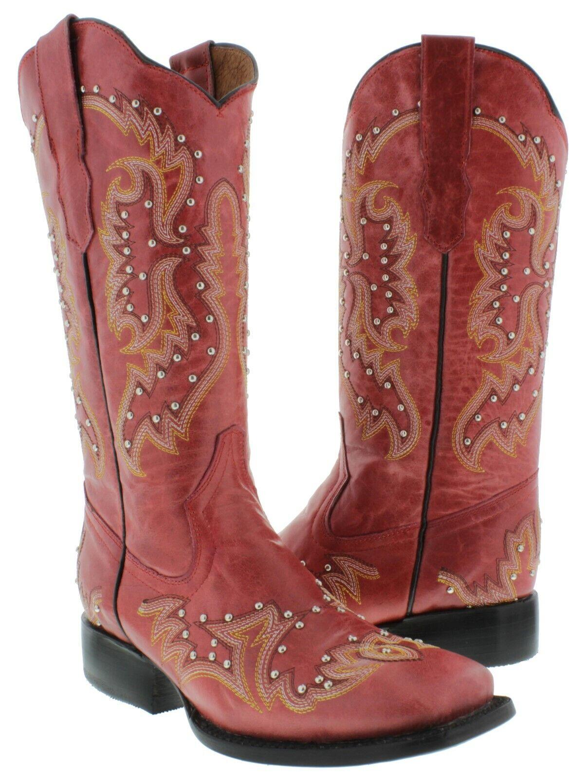 botas para mujer rojo Occidental Vaquera dedo del pie cuadrado plateado postes Bordado