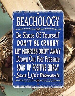 Home Decor Beach Sign Beachology Sign 8x12 Sign Beach Decor Metal Sign