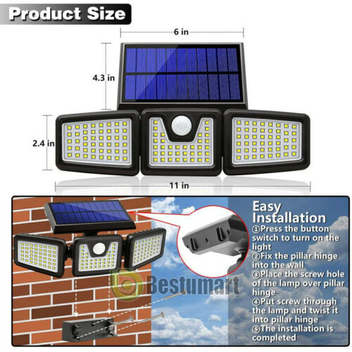 10000LM Solar Light Outdoor Motion Sensor 128 LED 3-Head Solar Lights Waterproof