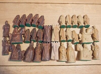 Lovely Vintage Heavy Hand Carved Large Antique Chess Pieces Full Set - No Board