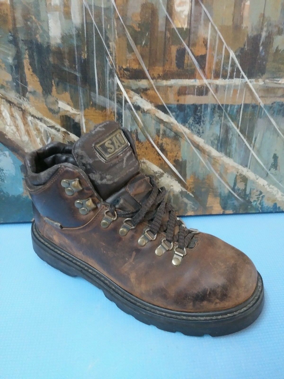 SAO 23882 MENS BROWN LEATHER LACE UP WORK  BOOTS SZ 10 D
