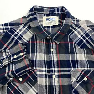 Urban-Pipeline-Button-Up-Shirt-Men-039-s-2XL-XXL-Long-Sleeve-Multicolor-Plaid-Casual