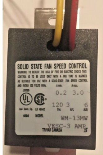 WM-13MW Wall Mounted Speed Control UR Variable Speed Fan Control TRIVAR 3.0 Amp