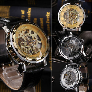 Classic-Men-039-s-Black-Leather-Dial-Skeleton-Mechanical-Sport-Army-Wrist-Watch-HOT