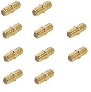 10x f verbinder kupplung sat stecker koaxial kabel f buchse auf buchse vergoldet ebay. Black Bedroom Furniture Sets. Home Design Ideas