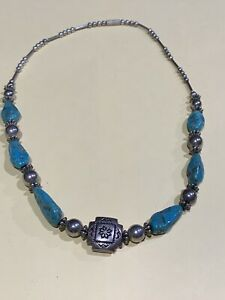 vintage-Silver-925-bench-beads-and-turquoise-Necklace
