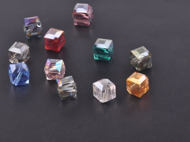 10pcs 10mm Diagonal Cube Square Faceted Crystal Glass Loose Beads Mixed Colors