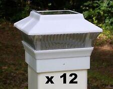 12 Solar Light Fence Post Caps - For 4X4 PVC VINYL Posts - White PL244W
