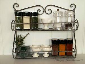 Shabby Chic Vintage French Grey Kitchen Wall Shelf Storage Unit