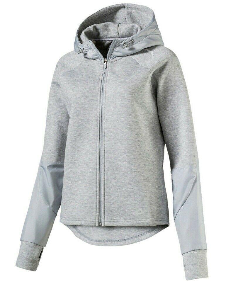 PUMA Damen EVOSTRIPE FZ Jacke Sweatjacke Trainingsjacke grau Hoodie