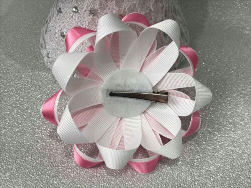 Pair handmade white//pink three flowers Harajuku romany hair bows
