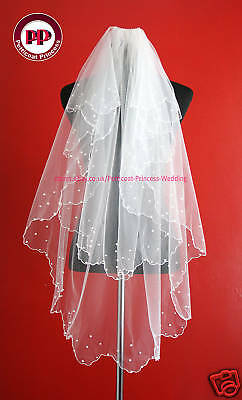 2 Tier White Pearl Bridal Veil- Waist Length Soft Tulle