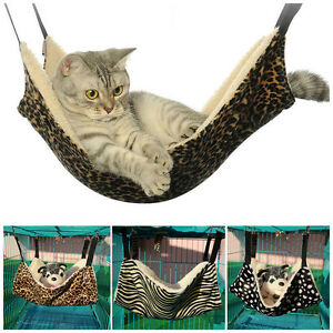 Cat-Hammock-LARGE-Leopard-Bed-Animal-Hanging-Cage-Comforter-Ferret-Pet