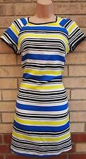 PRIMARK WHITE BLUE GREEN BLACK STRIPE STRIPED SILKY FEEL TUNIC SHIFT TEA DRESS 8