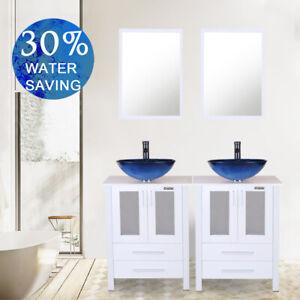 48 Bathroom Vanity Mirror W Tempered Glass Vessel Sink Faucet Drain Combo White Ebay