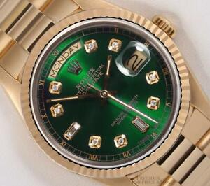 Rolex-Day-Date-President-Solid-18k-Gold-18238-Watch-Baguette-Diamond-Green-Dial