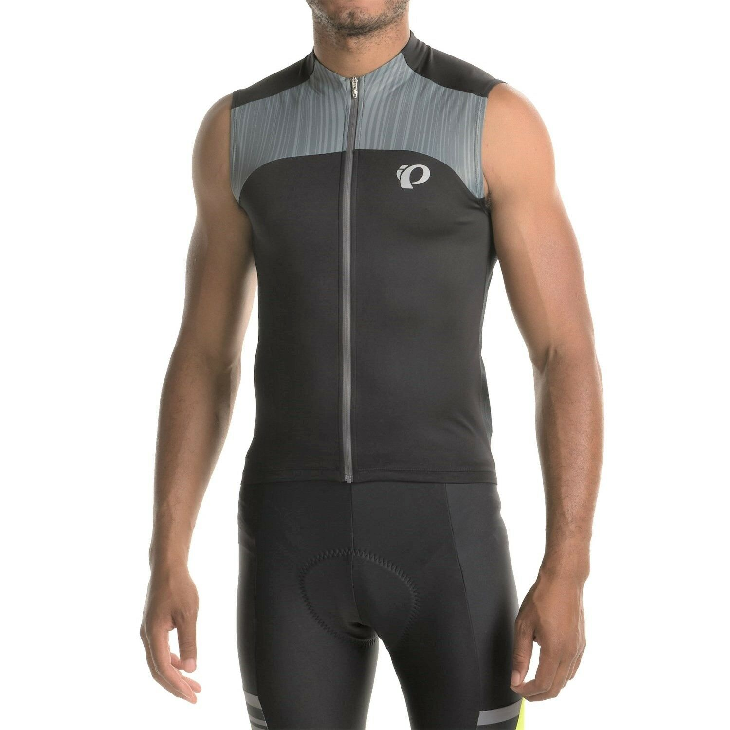 PEARL iZUMi ELITE Pursuit Men's Sleeveless Cycling Jersey Full-Zip Blk Gry S NWT