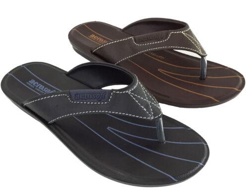 Aerosoft Tim Summer Sandals Orthopaedic Comfort Black Brown Flip Flop Style New