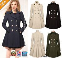 WOMENS Ladies Lapel Stylish Long Parka Coat Trench Outwear Jacket 8-16 WS009
