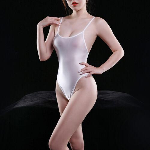 Women See Through onepiece Shiny Swimsuit Swimwear Backless Thong Leotard Bikini