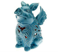 Home Reflections Flying Pig Luminary with Flameless Candle & Timer In Blue