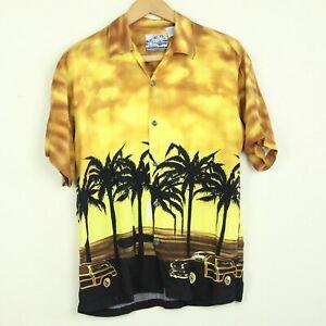 FLAWS-Vintage-90s-Rayon-Hawaiian-Shirt-Palm-Tree-Sunset-Surf-Yellow-Cars-40-034-S