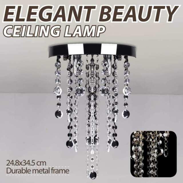 vidaXL Ceiling Lamp with Crystal Beads White Metal Chandelier Lighting Fixture
