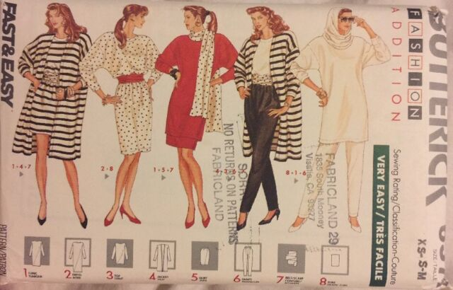 Misses Jacket Dress Top Butterick 6578 Sewing Pattern Vintage Size L