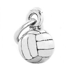 """Made Italy 18/"""" Box Chain Sterling Silver Volleyball 3D Hollow Pendant Charm"""