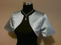 Silver/grey Satin Bolero/tippet/shrug/jacket/stole/wrap/shawl Short Sleeves