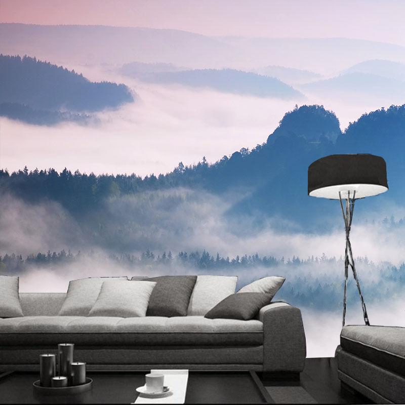 3D Montagne Foggy 7 Photo Papier Peint en Autocollant Murale Plafond Chambre Art