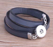 Hot selling handmade DIY nosa lether bracelet fit 18mm chunk snap button j4862