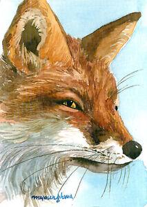 Limited Edition ACEO Fox Print Red Fox Mini Print Wildlife Mini Painting Watercolour Fox Painting Watercolour Fox ACEO Print Foxes
