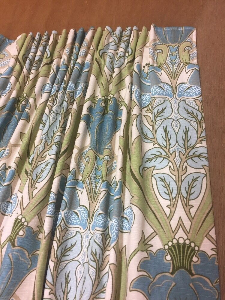 Iliv Art Deco Acanthus Cornflower William Morris Style Curtains Hand Sewn,4 Cols